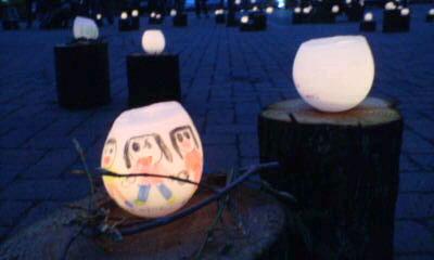 新潟県上越市くわどり湯ったり村の灯り。その一。